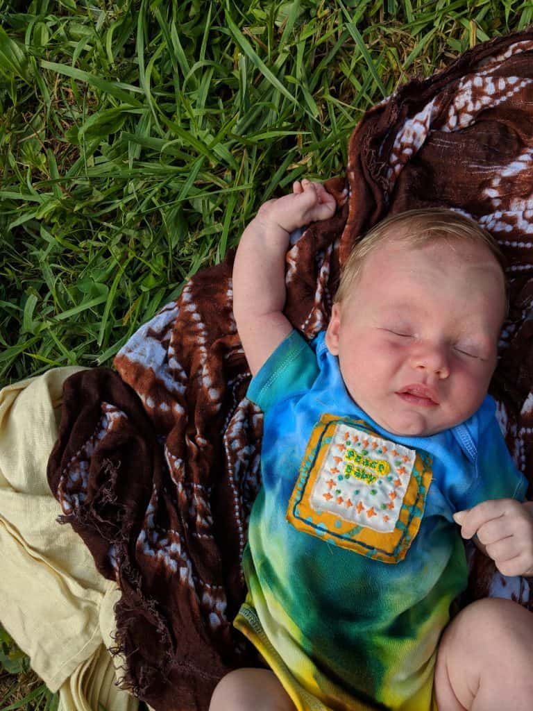 camping with newborn baby at Firefly Gathering