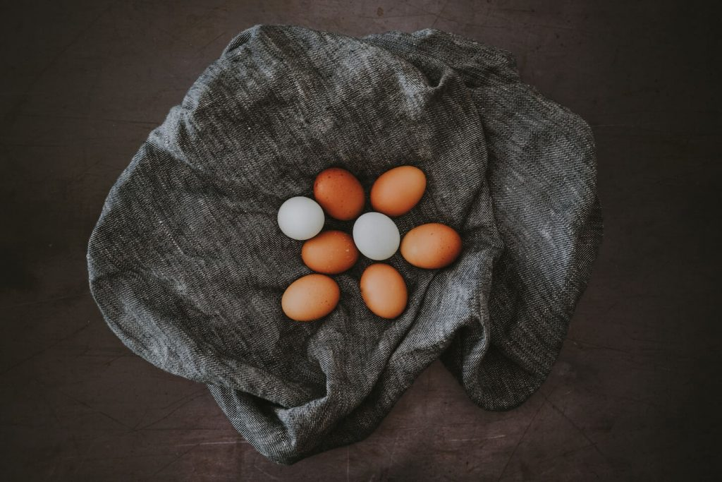 farm fresh eggs on natural cloth