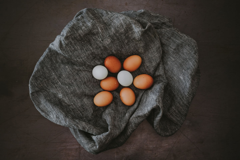 farm fresh eggs on natural cloth